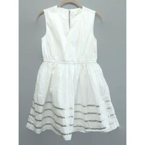 CREWCUTS Silver Ribbon Trim white Dress 10 J Crew